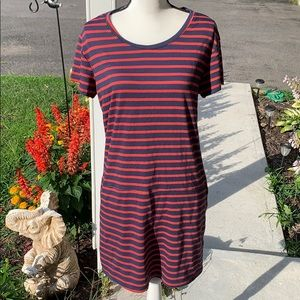 Medium Caslon Ladies Red & Navy Striped Dress